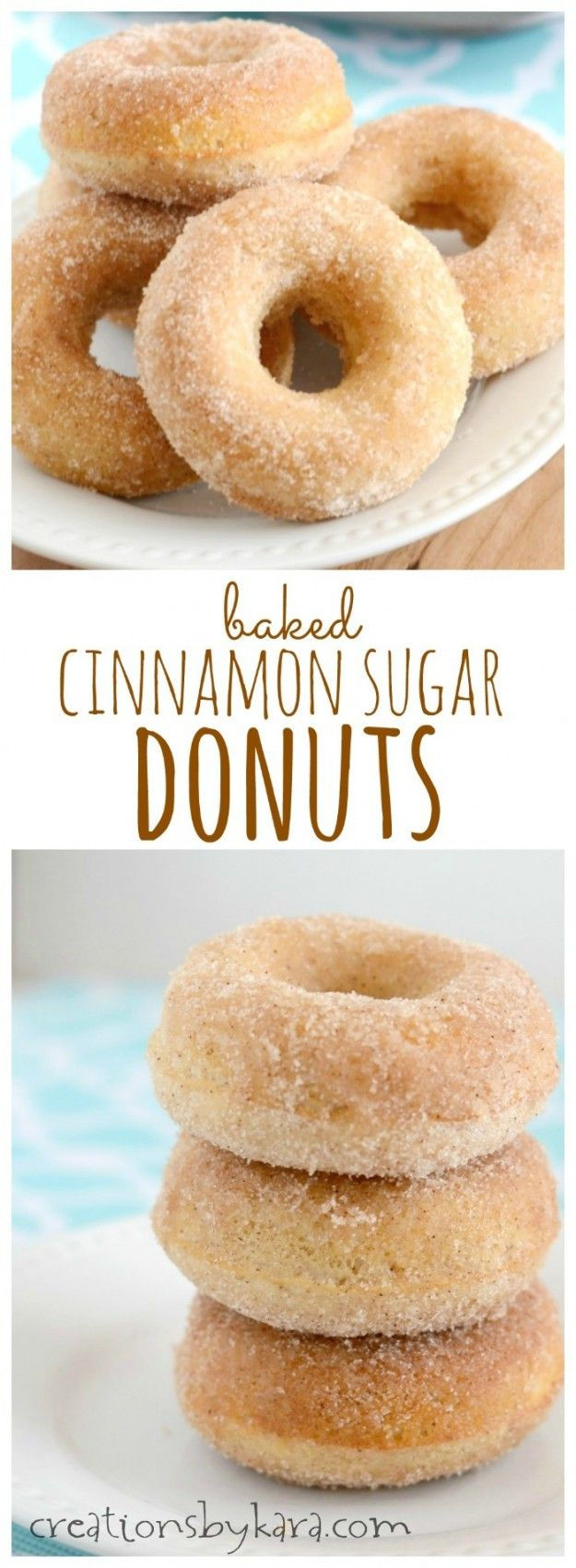 Melt in your mouth Baked Cinnamon Sugar Donuts- plus 16 other donut recipes! #nationaldonutday