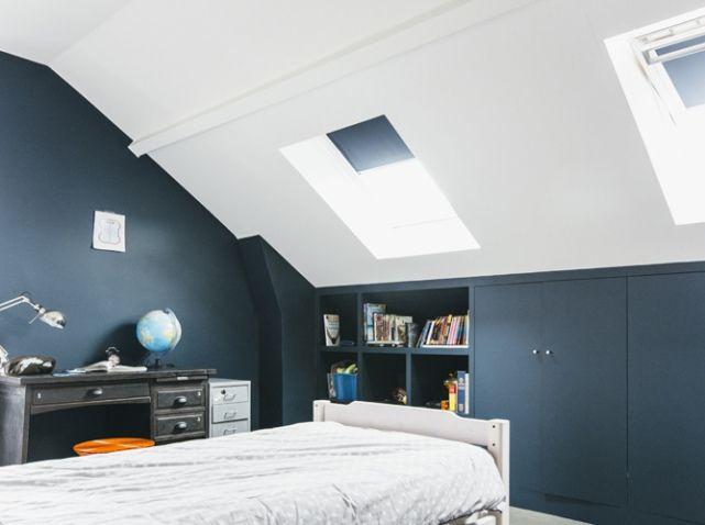 Les 25 meilleures id es de la cat gorie chambres bleues sur pinterest chambre bleue couleurs for Chambre mansardee bleu 2