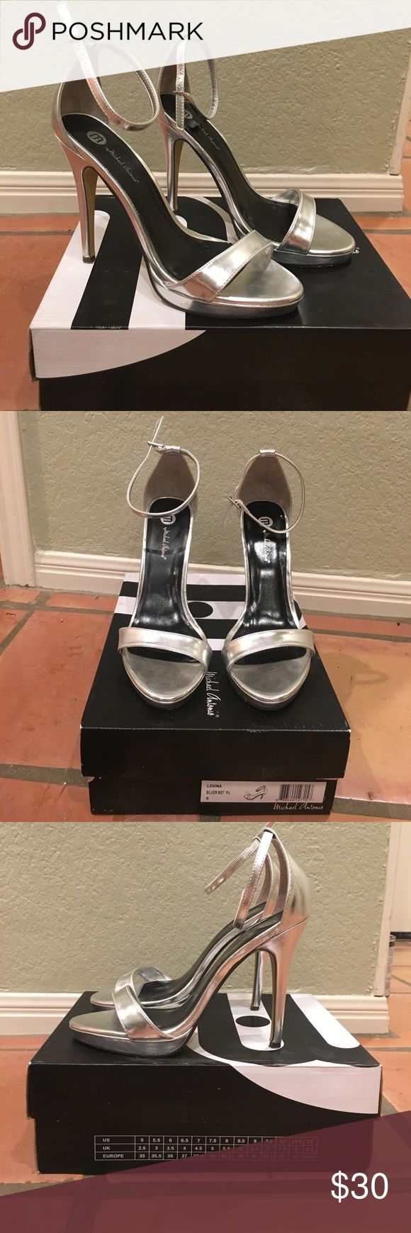 ✨Sexy SILVER strappy Michael Antonio sz 9 heels ✨ Worn twice size 9 silver strappy heels (4 in heels)!!!!  These are so cute with the strappy ankle and perfect for a nite out!  Make me an offer, they have been sitting in my closet  Michael Antonio Shoes