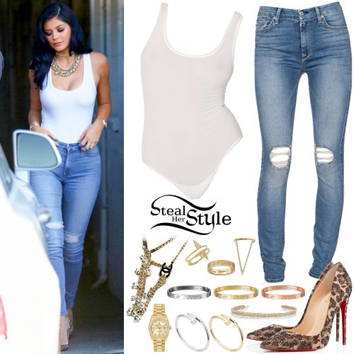 Kylie Jenner was spotted leaving a studio in Van Nuys yesterday wearing an American Apparel Fine Tricot Bodysuit ($40.00 – wrong color), The High Waist Skinny W/Knee Holes Jeans by 7 For All Mankind ($139.00), and a pair of Christian Louboutin So Kate Strass 120mm ($3,995). You can find similar jeans at Boohoo ($44.00) and leopard pumps for $37.99 at CiCiHot.  She accesorized with a LOVE Pink Gold Bracelet ($6,300), a LOVE Yellow Gold Bracelet ($6,300), a LOVE White Gold Bracelet ($6,750)…