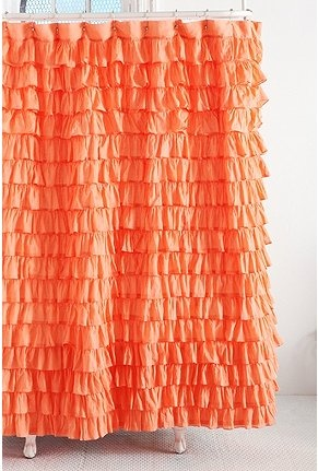 Always Difficult To Find Accessories For My Bright Orange Bathroom. Orange  Shower CurtainsRuffled ...
