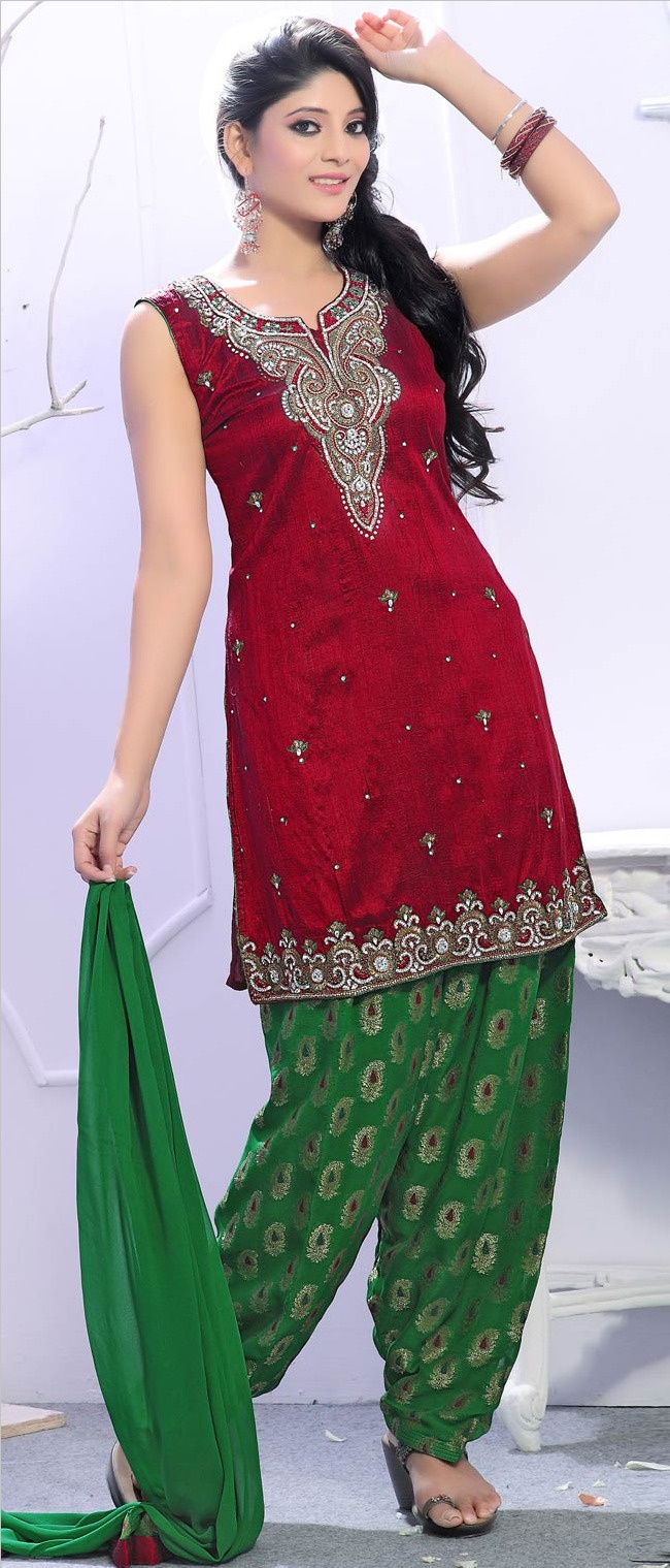 #Red Art Raw #Silk A-line #Salwar Suit @ $182.53