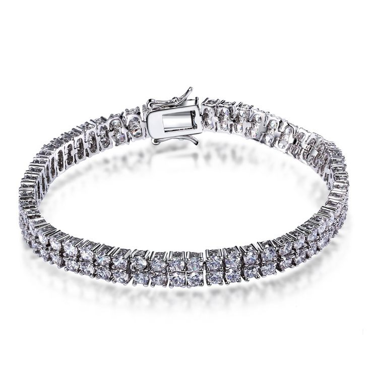 Recommented Claasic Women Bracelet 2 Lines Full Cubic Zirconia Luxury Engagement Gift For Lover's Rhodium Plated Lead Free