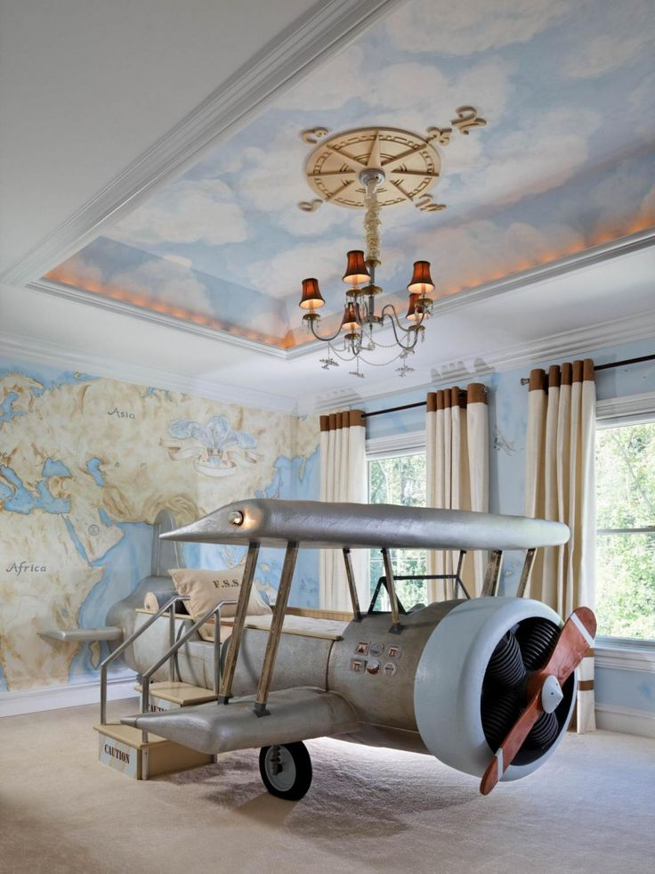 Kids Room Unique Airplane Bed Classic Chandeliar Map Wallpaper Blue Sky Cloud Ceiling Ideas Beige Curtain Beige Rug Recessed Ceiling Light Boys Room Decor Ideas 25 Stunning Ceiling Ideas For Kids Room