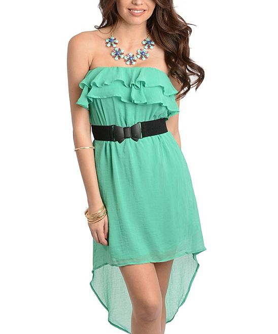 Emerald Ruffle Strapless Hi-Low Dress