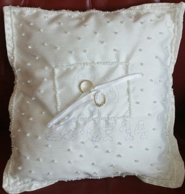 Hand-stitched wedding ring pillow from Grace & Favour Jewellery.