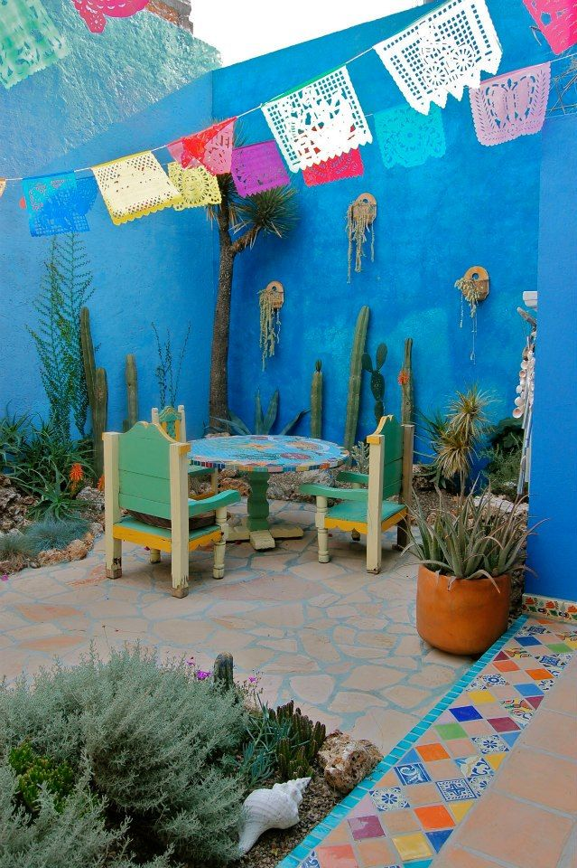 Mexican Patio, Mexican Style, Garden Gate, Patios, Backyards, Happiness,  Sweet Home, Terraces, Peace