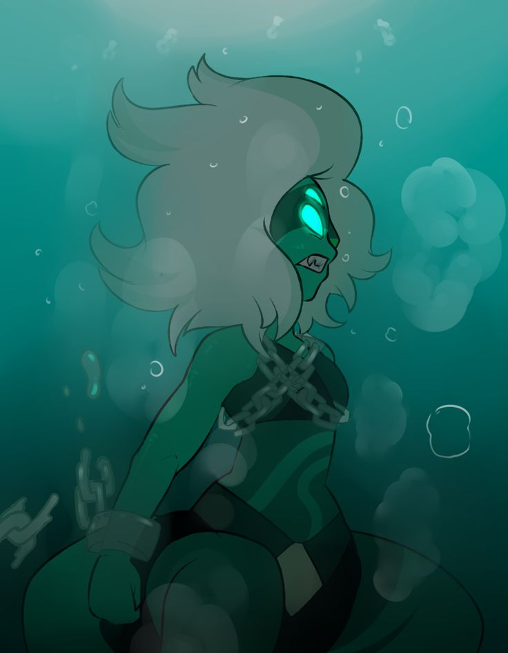 Malachite (jasper and lapis) trapped underwater