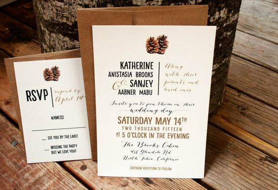Pine Cone Wedding Invitation on my cotton ivory card stock. Seen here with a web card and kraft envelopes. Great for the romantic rustic wedding. Colors
