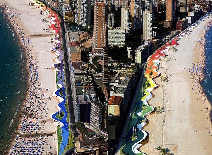 Urban Spaces: Marítimo De, Beaches Design, Public Spaces, Playa Ponient, Promenade, Urban Art, Beach, Art Installations, Spaces Design