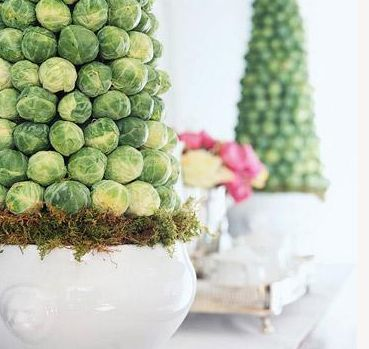 Elegant Easter Table Decorations | OMG Lifestyle Blog | Brussels Sprout Topiaries