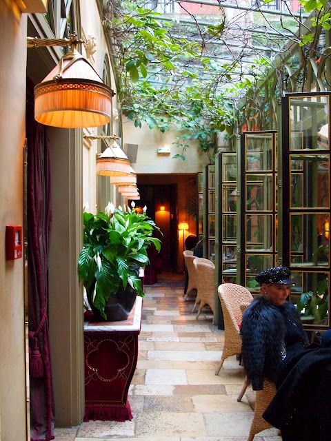 """Paris by Vicki Archer. Hotel Costes in the courtyard. One of my all time favorite """"hang outs."""""""