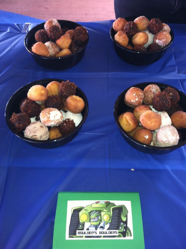 Rescue Bots Birthday Party- used multiple types of doughnut holes for Boulder's Boulders