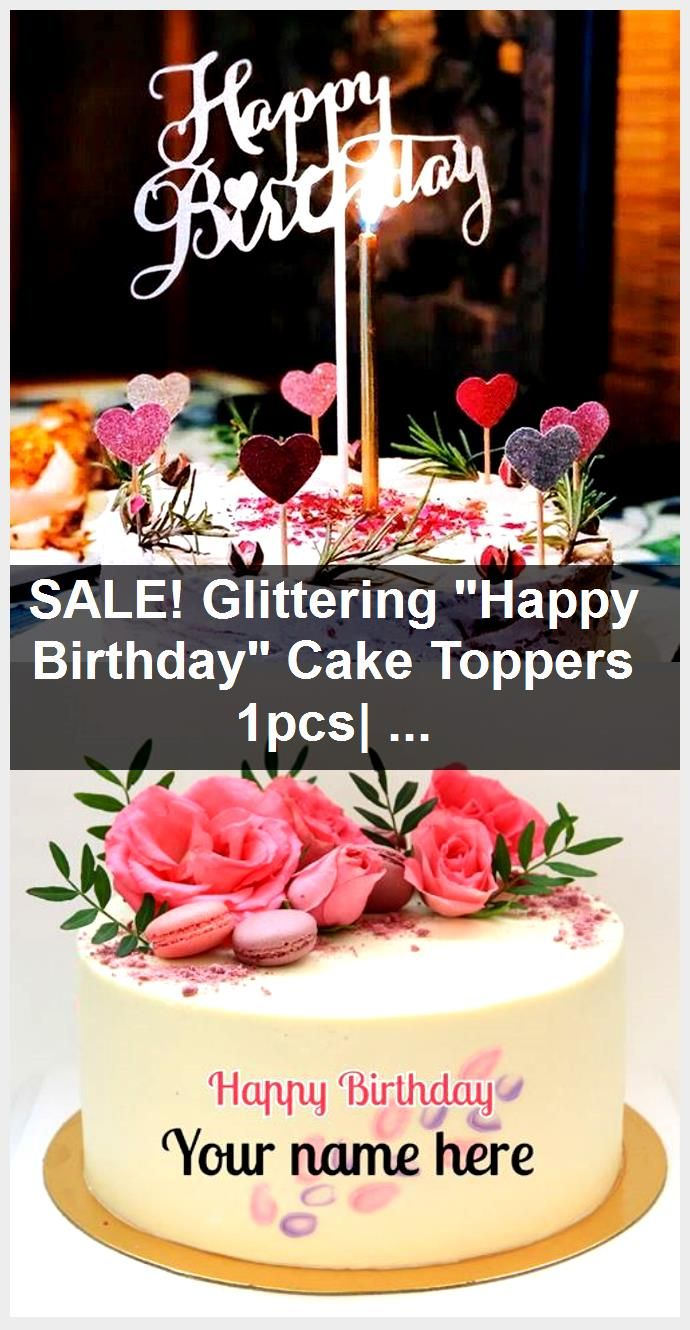 """SALE! Glittering """"Happy Birthday"""" Cake Toppers 1pcs"""
