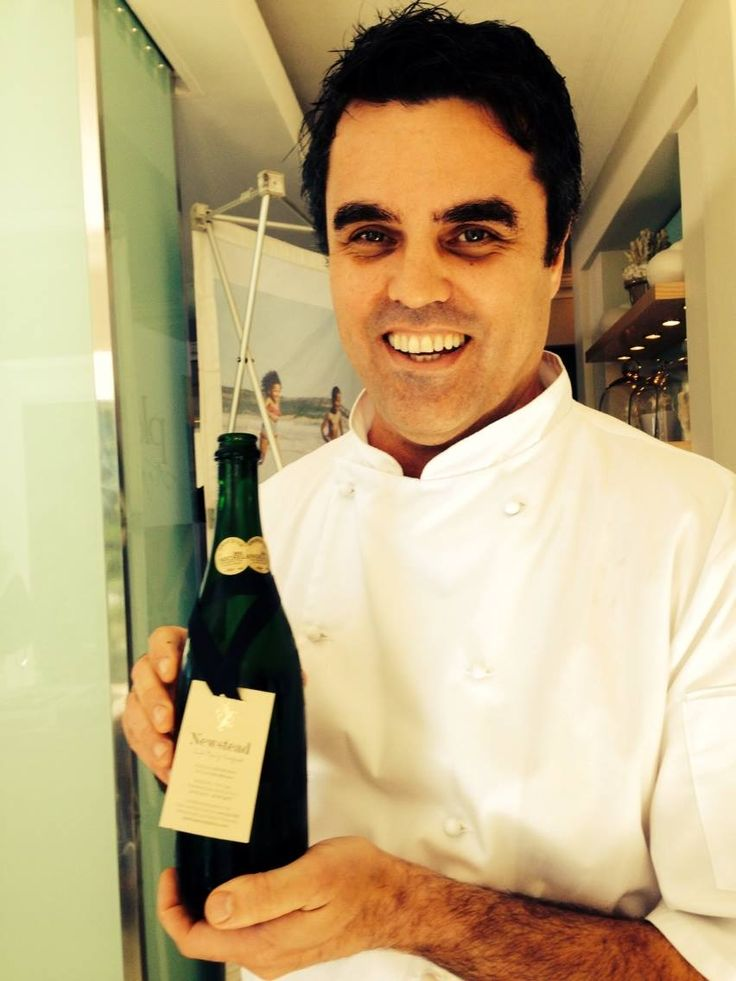 Chef Peter Templetoff with his favourite Plett Bubbly - Newstead MCC www.newsteadwines.com