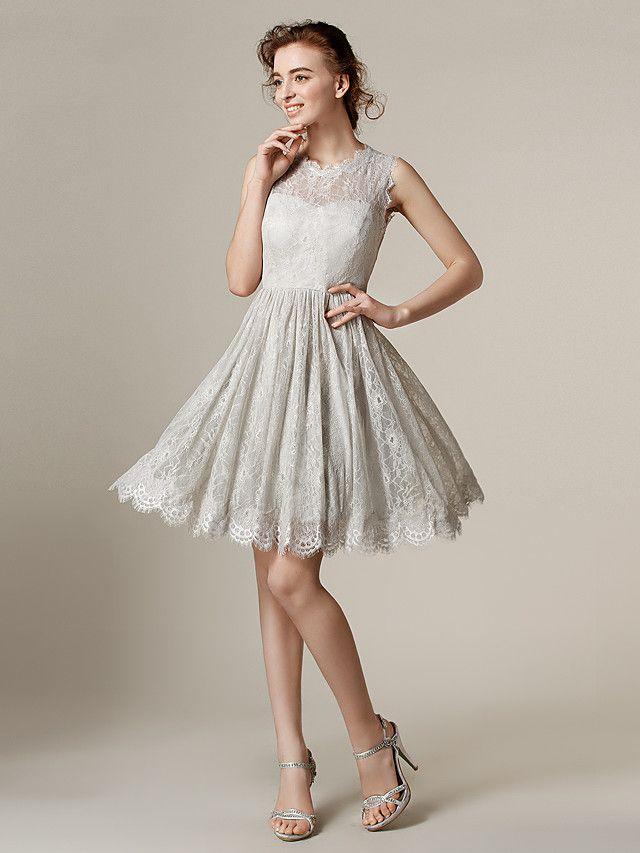 Knee-length+Lace+Bridesmaid+Dress+-+Silver+Plus+Sizes+/+Petite+A-line+/+Princess+Jewel+-+USD+$79.99/ bridesmaid