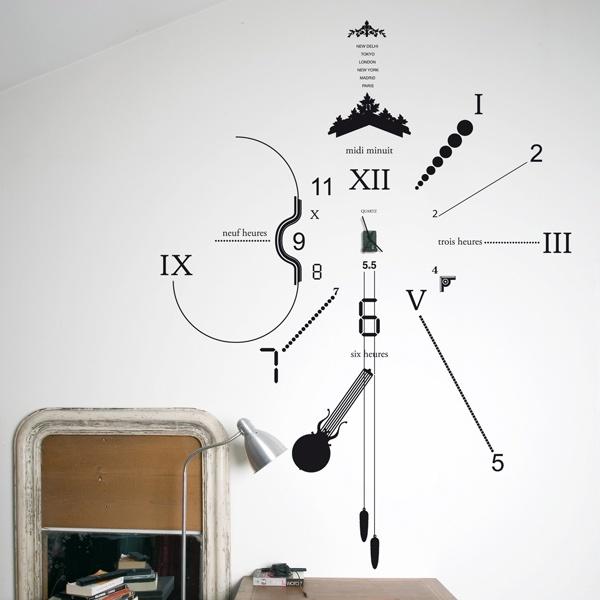 Cool Kitchen Clocks Part - 32: Vinyl Stick On Wall Clock... Love.