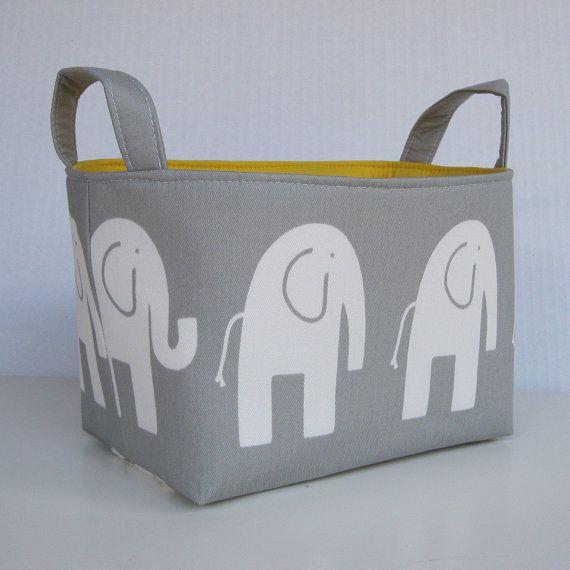 Storage Fabric Organizer Bin Container Basket - Ele Elephant - White on Gray