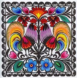 """Lowicz Wycinanki 12"""" - 30cm Birds Square"""