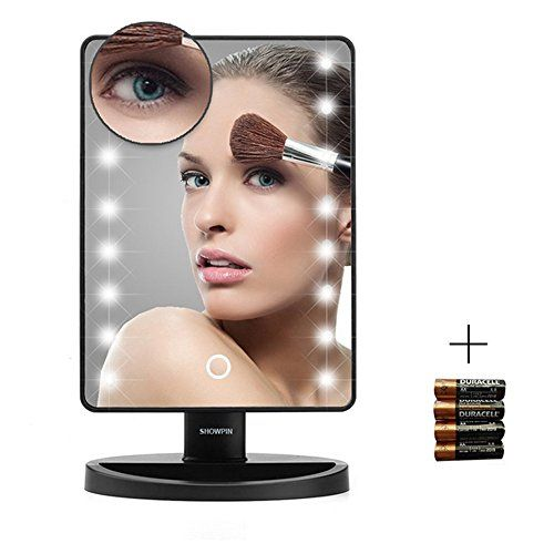 awesome Showpin Lighted Vanity Mirror With Lights,Tabletop Cosmetic Mirror with Removeable 10x Magnification Mirror, Batteries Included