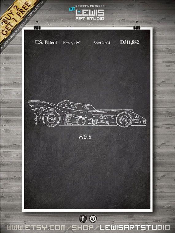 Batmobile poster Batmobile patent Batmobile by LewisArtPrints