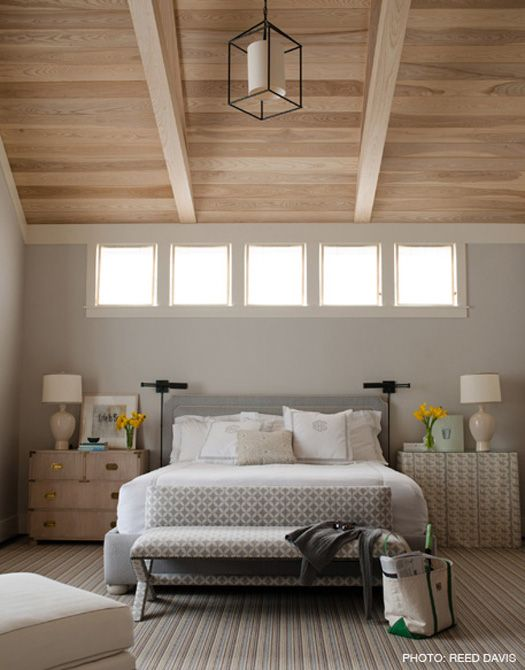 : Decor, Wall Colors, Beds, Benjamin Moore Gray, Bedrooms Design, Gray Owls, Master Bedrooms, Windows, Wood Ceilings