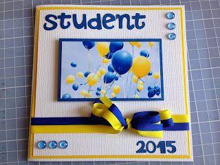 Randis hobbyverden: STUDENTKORT i blått/gult/hvitt