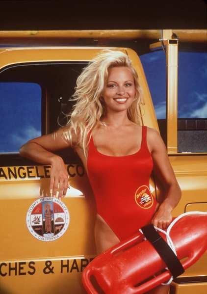 Pamela Anderson back in a red swimsuit; Macy's gets a makeover..... Blond bombshell Pamela Anderson is proving that at 45, she's still got it. Anderson recently revisited her C.J. Parker days, bouncing around the beach in a red swimsuit. Photos were snapped of Anderson wearing a Baywatch-esque suit during a recent commercial shoot in Brazil.