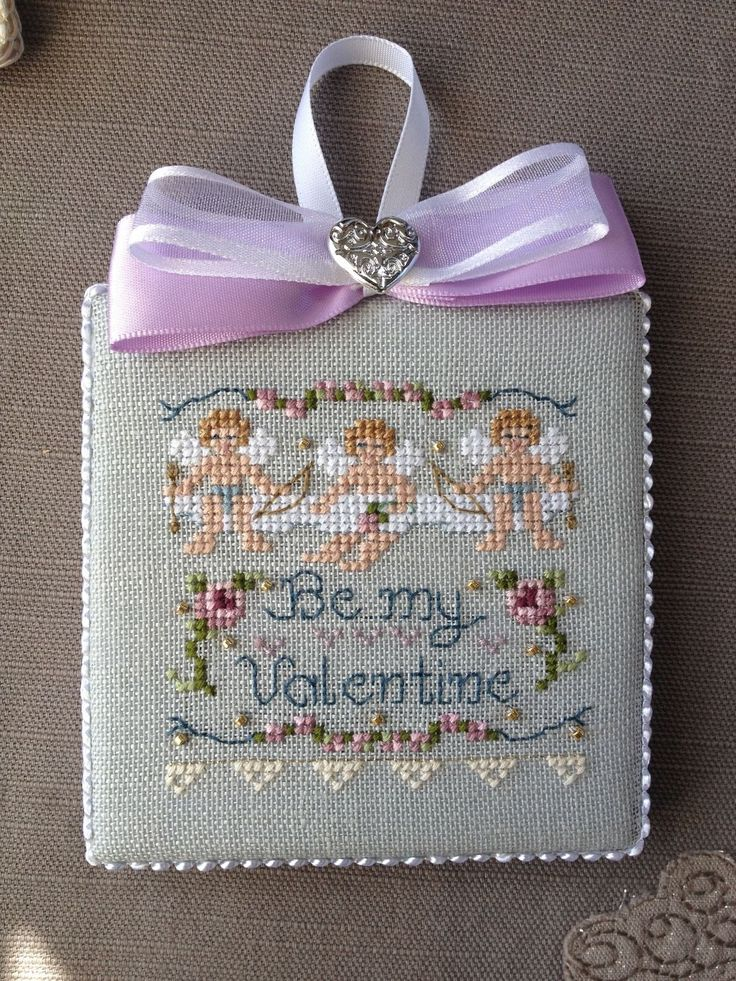 Finished Completed Cross Stitch Ornament Be My Valentine by Just Nan | eBay