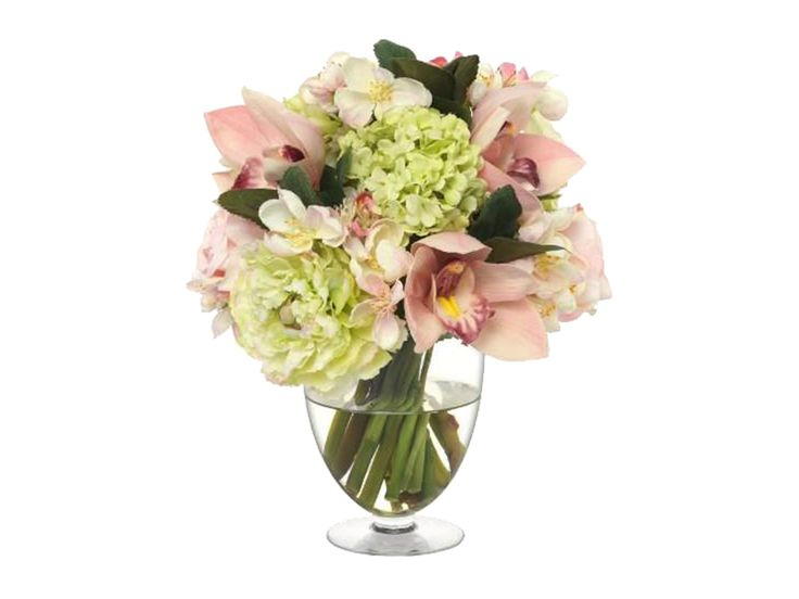 New for Spring 2016, this charming bouquet of faux pale pink cymbidium orchid and apple blossoms paired with pale green ranunculus and snowball viburnum adds a touch of spring to a side table or vanity.