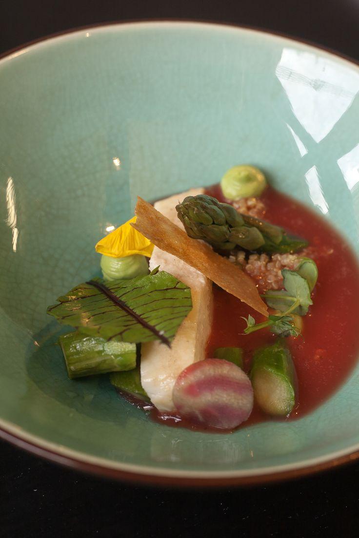 Turbot, green asparagus, quinoa, blood orange