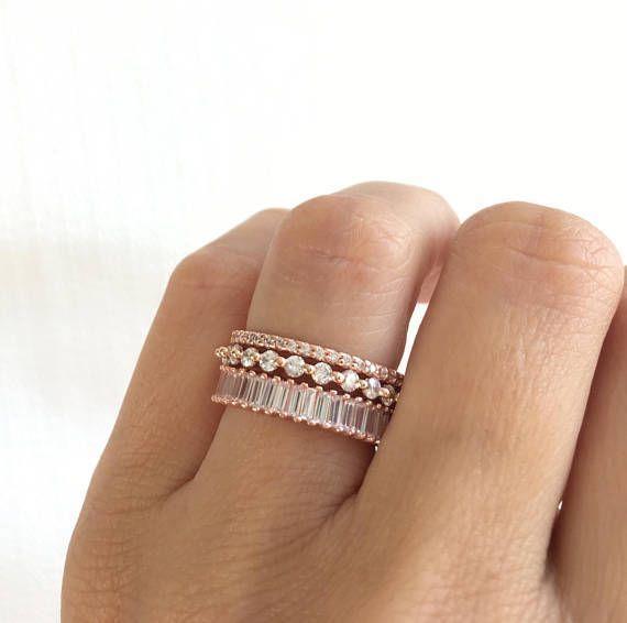 Rose Gold Wedding Band Set. Luxury Rose Gold Eternity Ring Set. Baguette Ring. Stackable Rings. Rose
