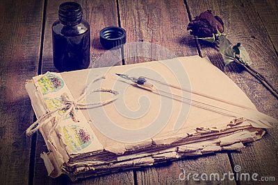 Symboli/lów wspominki past notatnik, pióro i atrament -, Zabarwiający Pho