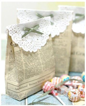 Doily topper on paper bag