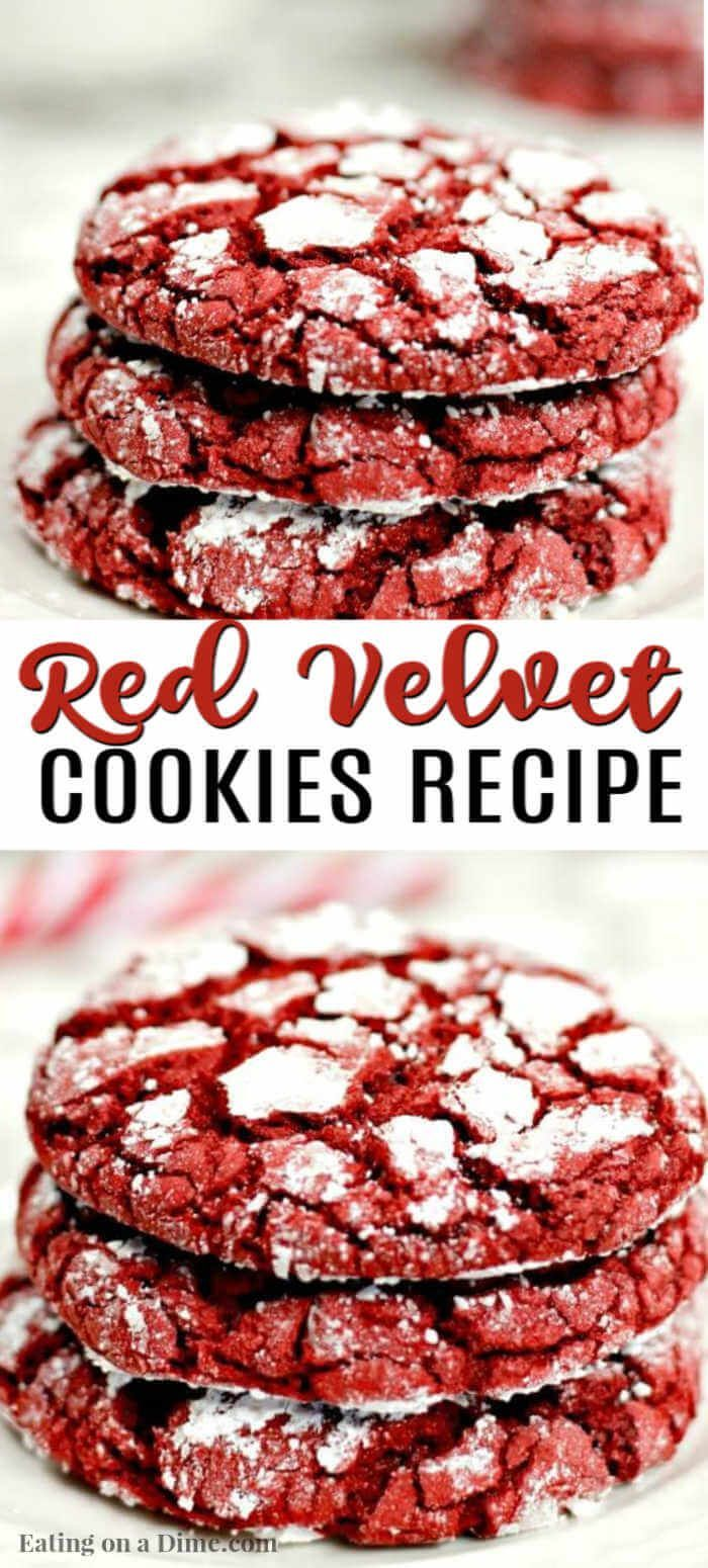 Red Velvet Cookies Recipe Easy Red Velvet Cake Mix Cookies In 2020 Red Velvet Cookie Recipe Easy Cookie Recipes Red Velvet Cookies