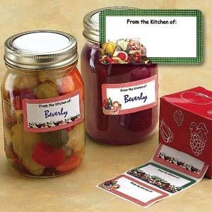 """Canning Labels & Preserving Book - 120 Canning Labels  Product #: AP172  Price: $9.98        Proudly identify your tasty creations! These colourful labels come in an attractive dispenser, and are conveniently preprinted with 'From the kitchen of', so you can easily add your name. Each label is 2-3/4""""W x 1-3/8""""H, and set includes 4 assorted designs http://katherinel.shopregal.ca"""