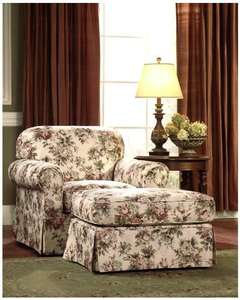 Fotoliu din material textil, cu imprimeu floral - Exotique.ro