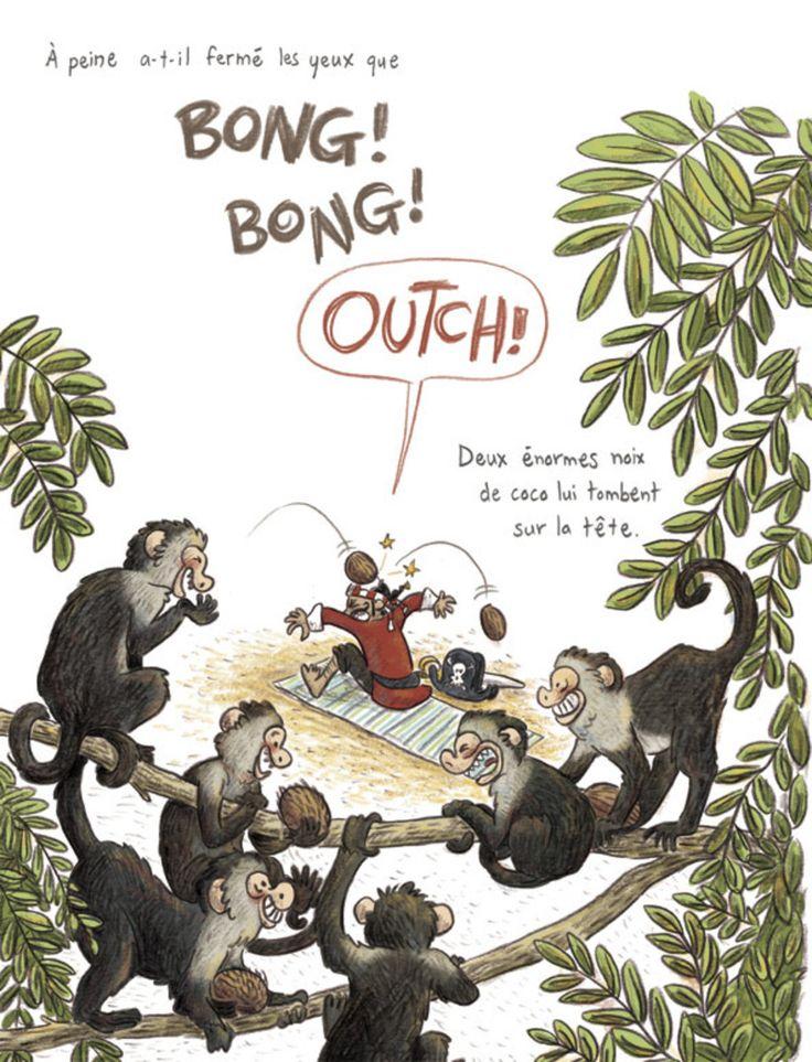 Sven le terrible - Pas de vacances pour les pirates extrait, album jeunesse, 400 coups, illustration, orbie, singes, jungle  cover, kids book, monkey