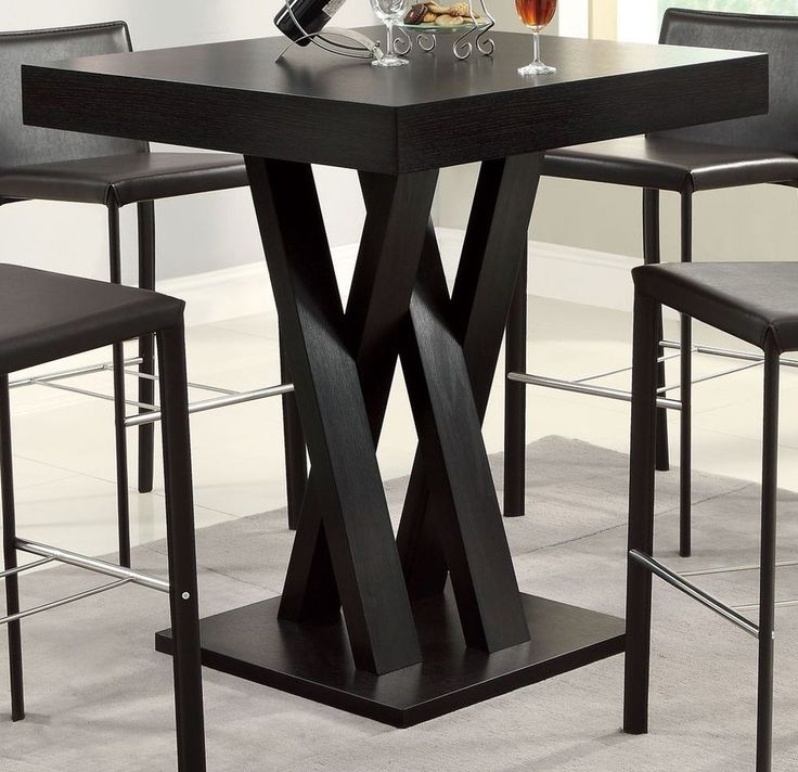 Square Dining Table Counter Height Pub Bar Bistro Kitchen Furniture Criss Cross