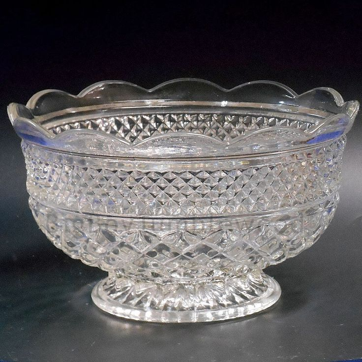 VINTAGE large glass PUNCH bowl trifle pudding dish crystal WEXFORD food serving #BigBoyTumbleweed