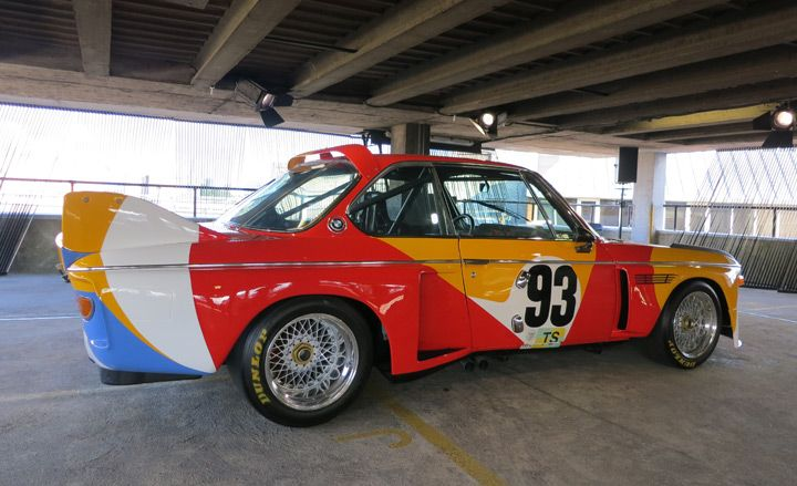 The BMW Art Cars are on show at the NCP car park on London's Great Eastern Street, a classic slice of automotive concrete on the fringes of the city, hugely enlivened by its colorful cargo. Pictured is the first in the series - the 3.0 CSL by Alexander Calder, 1975