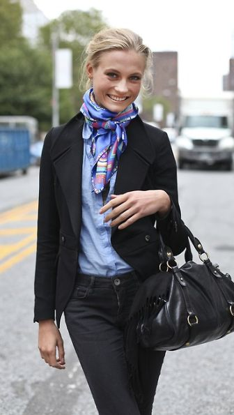 chic scarf. Like seeing the 'classic scarf' look still out there.