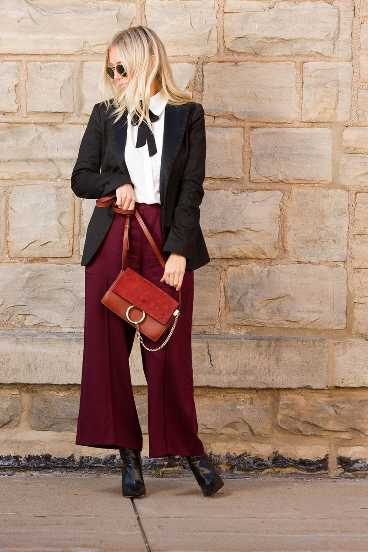 Burgundy culottes and Chloe Faye on The Boyish Girl