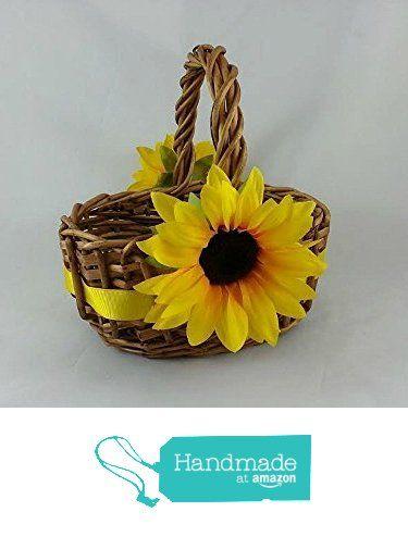 Sunflower Flower Girl Basket, Country Rustic Wedding Decor Handmade in USA from Darlene's Gift Shop