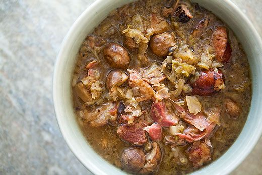 Polish Hunter's Stew A stew with sauerkraut, a whole head of cabbage, and 3 types of porkAlso known as bigos, this hearty, cabbage and pork-based stew has been called the national dish of Poland.