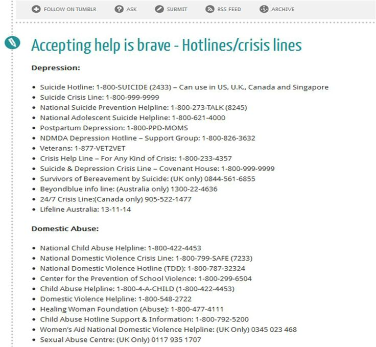 """Accepting help is brave - Hotlines/crisis lines"""" -- Lists hotlines ..."""