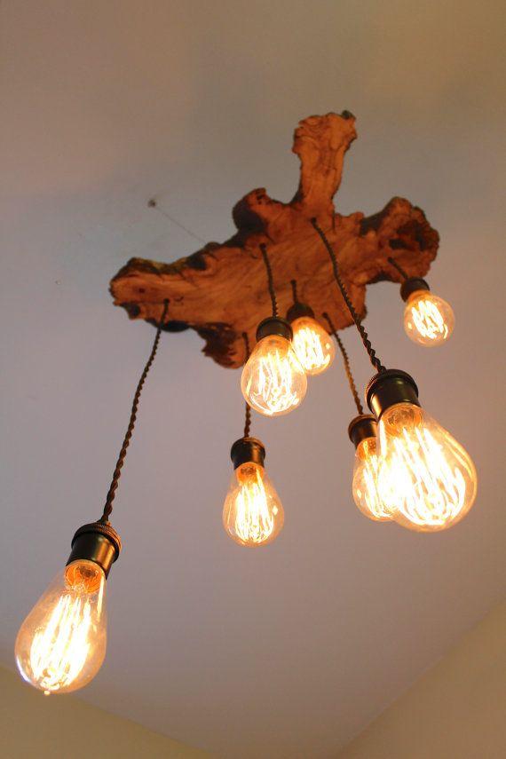 live edge olive tree wood slab light fixture with hanging edison bulbs ball mason jars twisted fabric wire