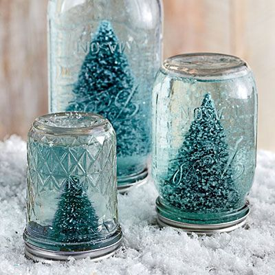 Make a Mason Jar Snow Globe - So cute DIY in Dec 2013 Southern Living Mag!! I may have to try this!