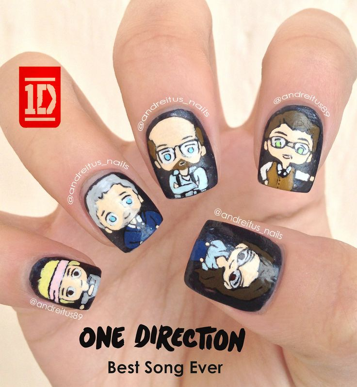 One Direction Nail Art!! If u have seen the music video then this is really funny❤️