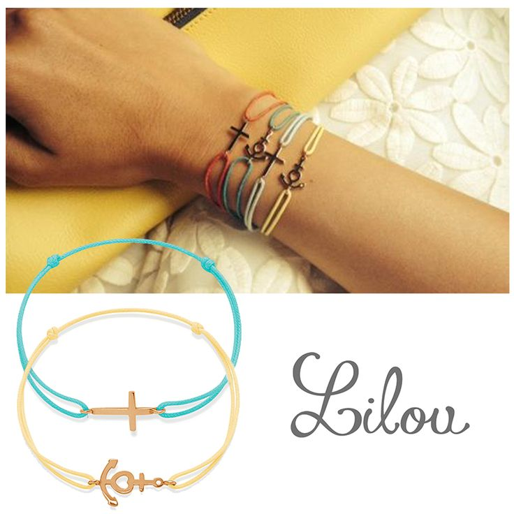 Wear the bracelets from the Mini collection by Lilou, cross or anchor on a colored string! £14 only, 33 colors available! #lillou #cross #anchor #colored #bracelet